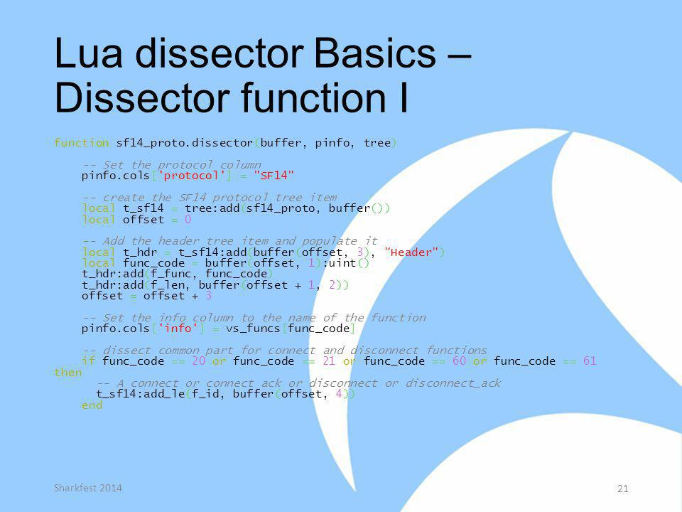 Lua dissector Basics – Dissector function I