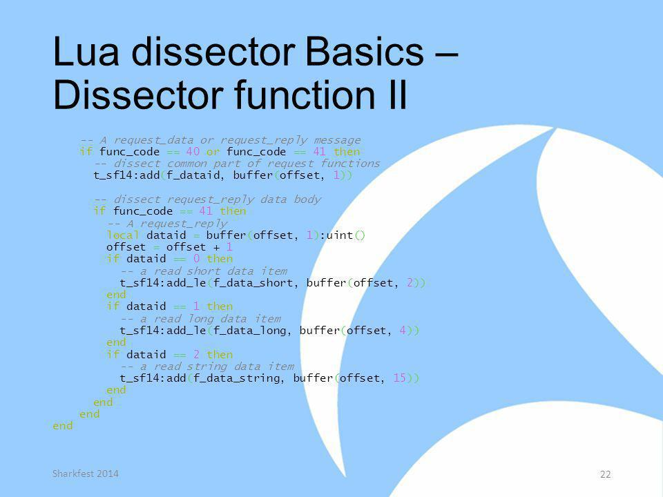 Lua dissector Basics – Dissector function II