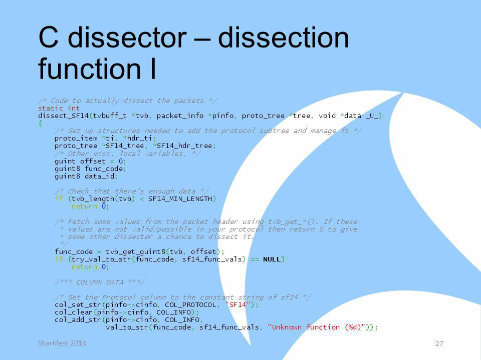 C dissector – dissection function I