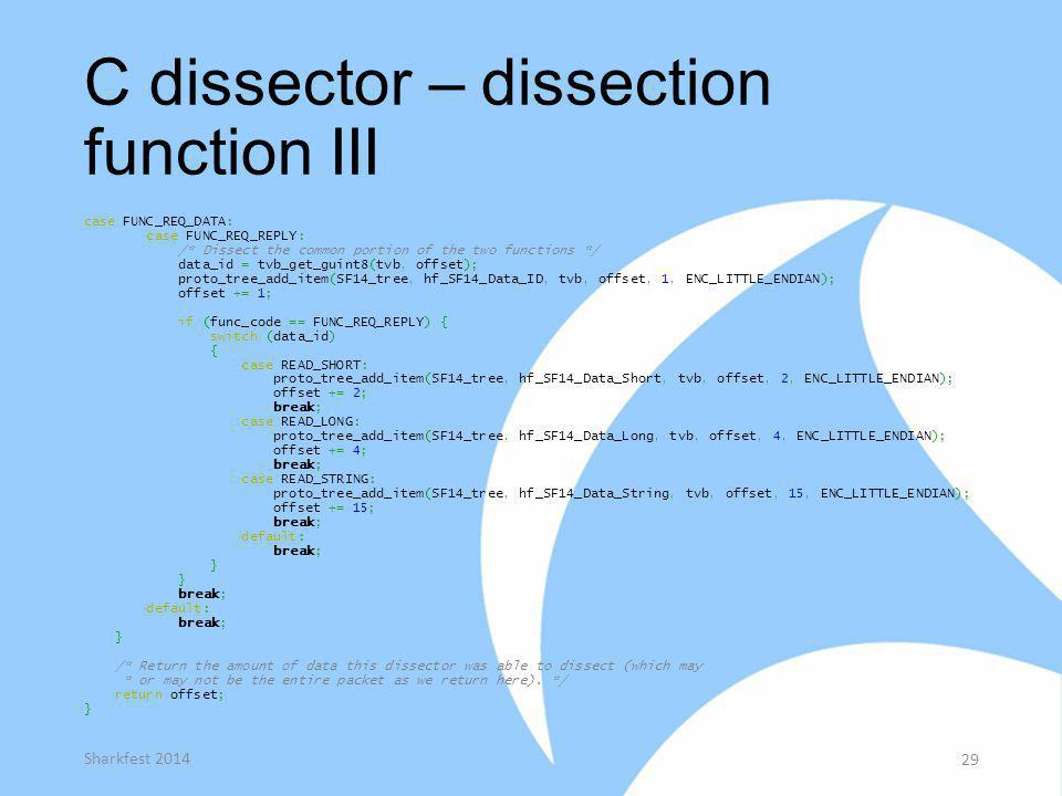 C dissector – dissection function III