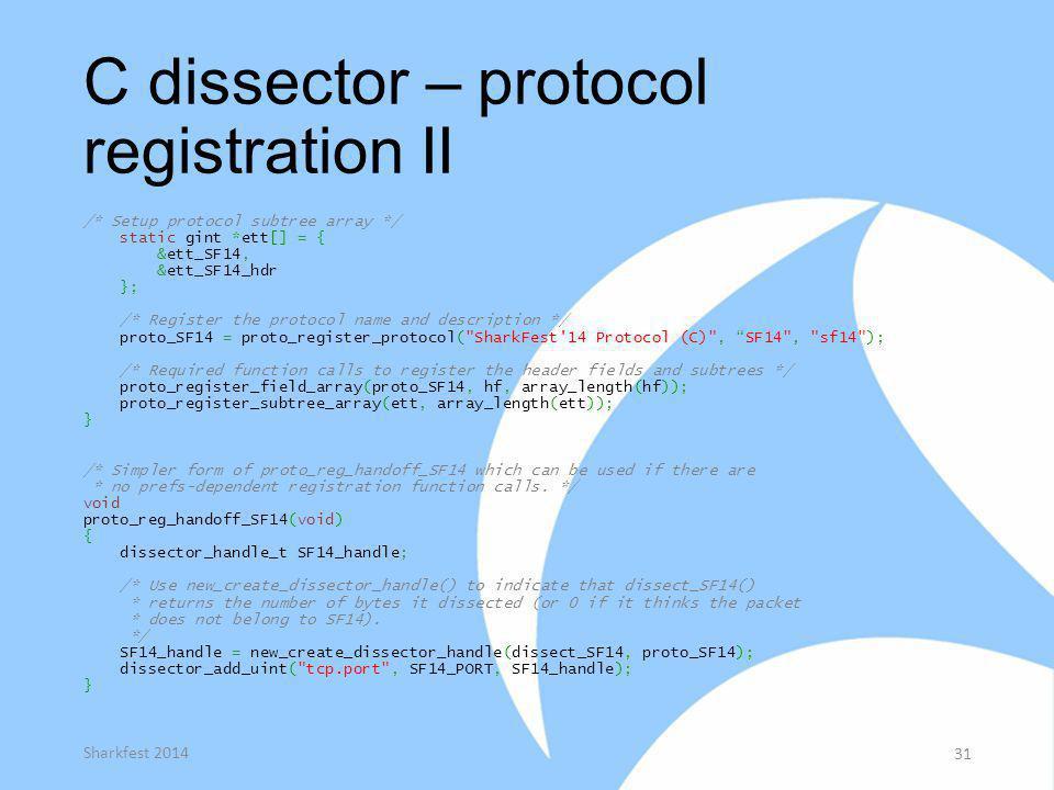 C dissector – protocol registration II