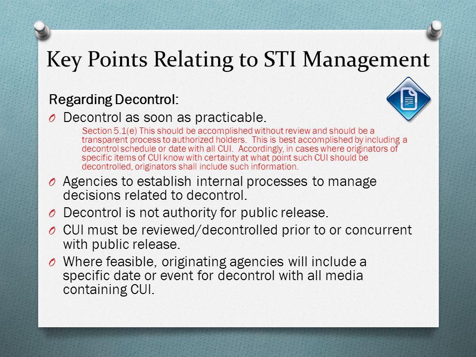 Key Points Relating to STI Management