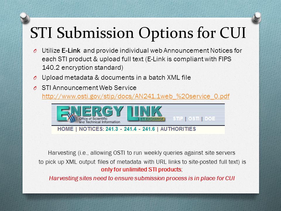STI Submission Options for CUI
