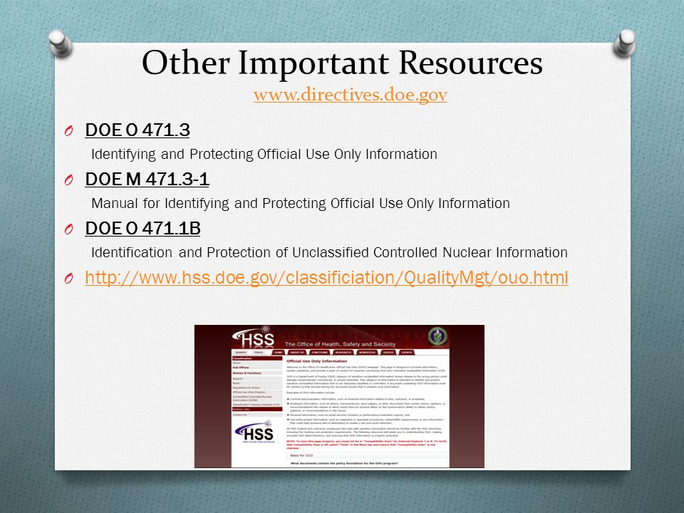 Other Important Resources www.directives.doe.gov