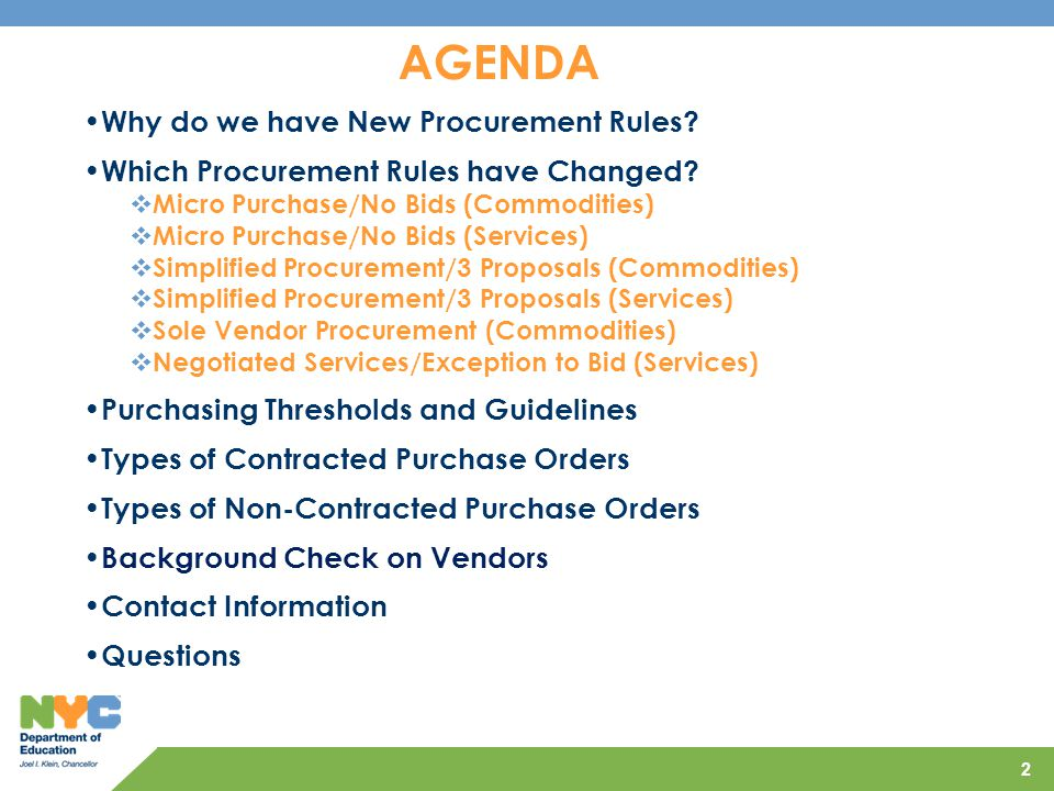 AGENDA Why do we have New Procurement Rules