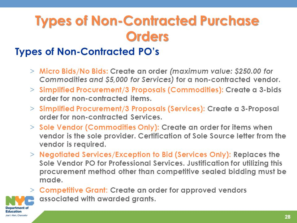 Types of Non-Contracted Purchase Orders