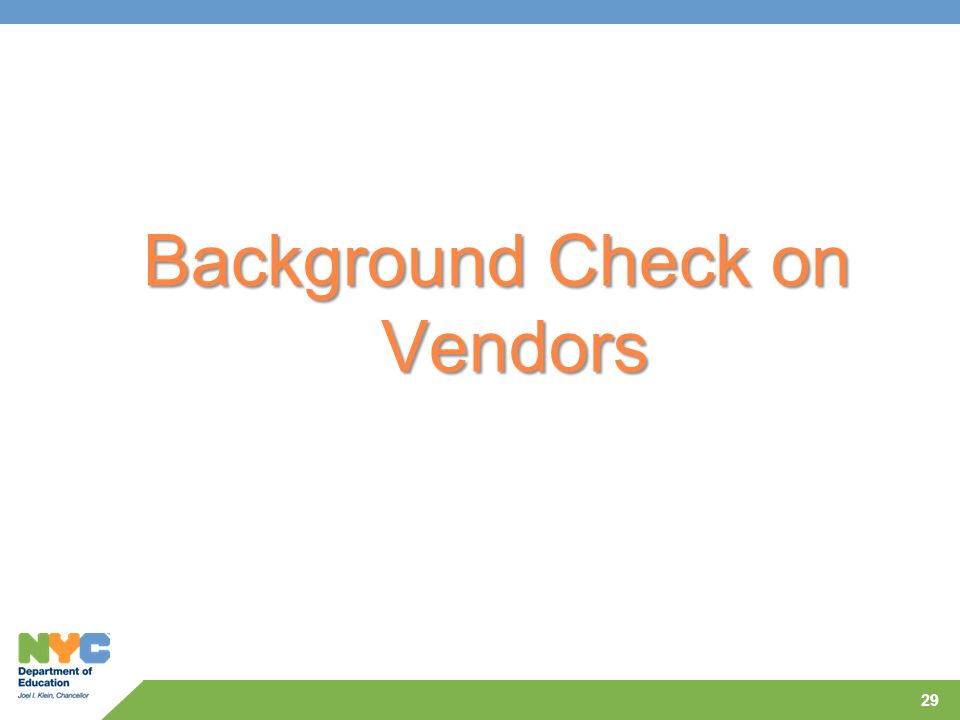 Background Check on Vendors