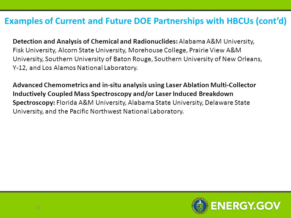 Examples of Current and Future DOE Partnerships with HBCUs (cont'd)