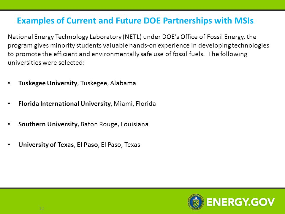 Examples of Current and Future DOE Partnerships with MSIs
