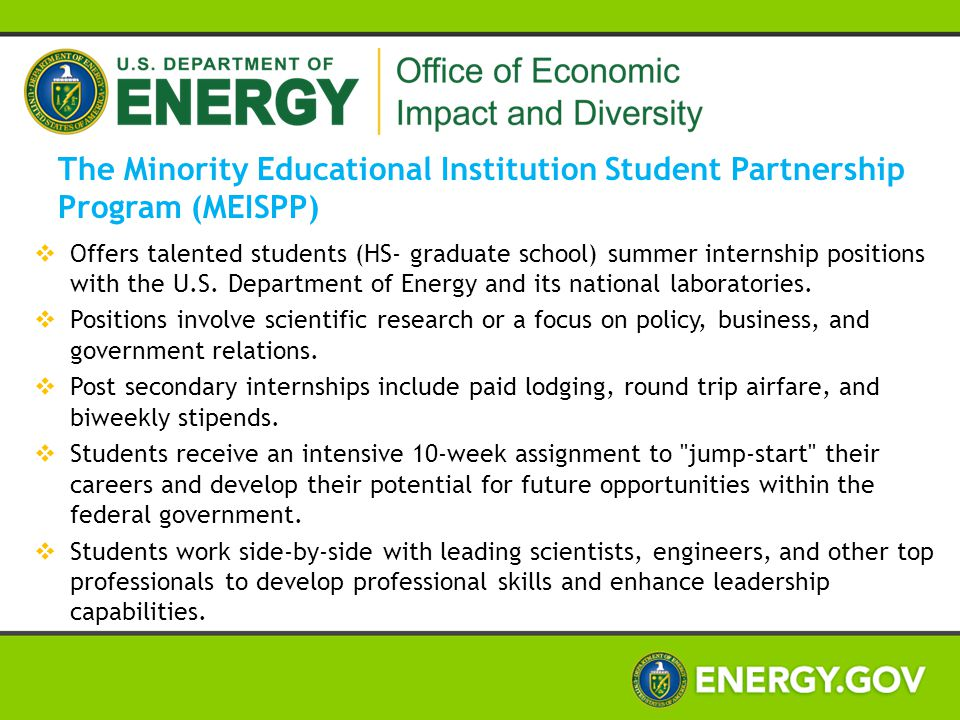 The Minority Educational Institution Student Partnership Program (MEISPP)