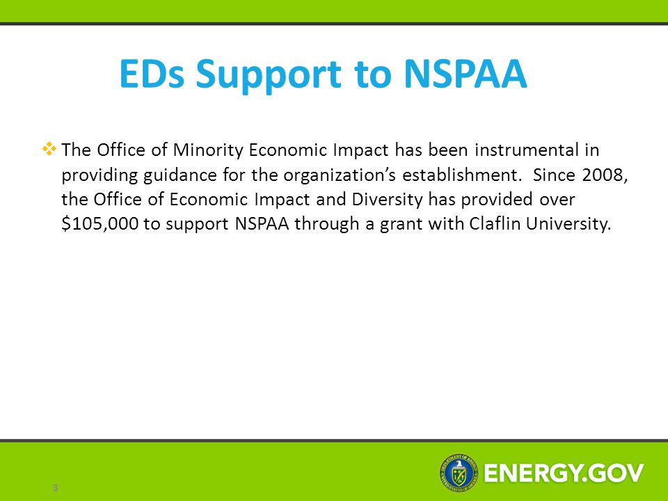 EDs Support to NSPAA