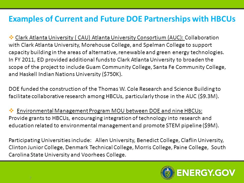 Examples of Current and Future DOE Partnerships with HBCUs