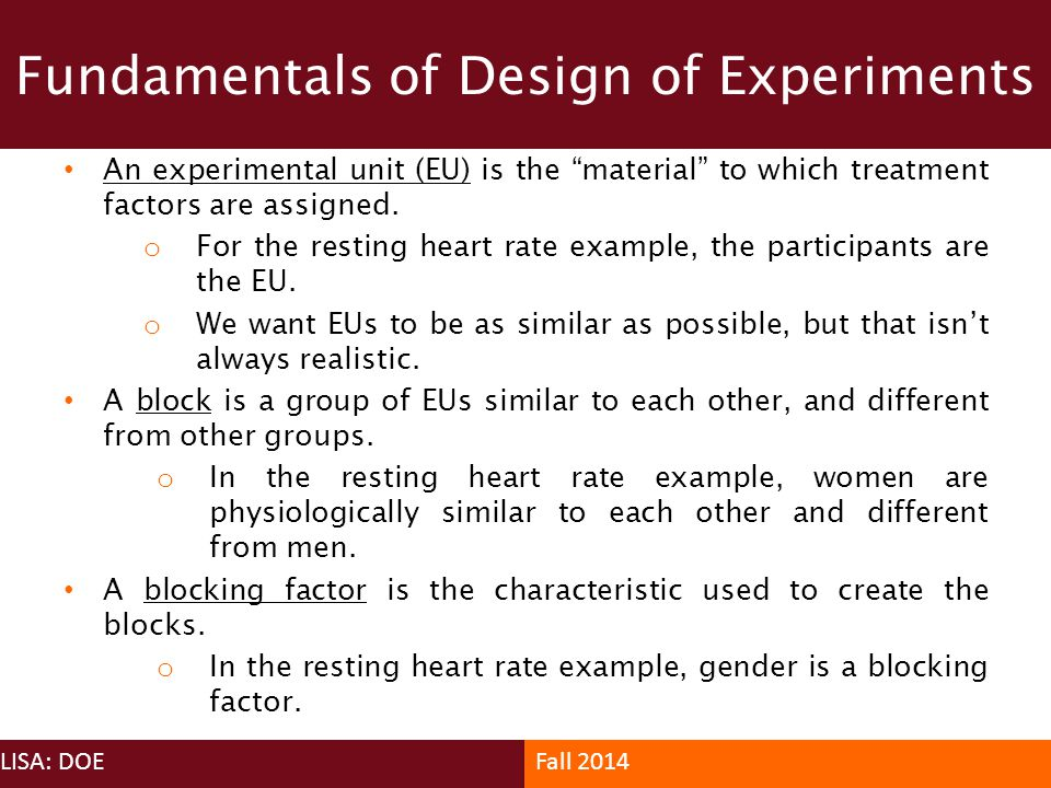Fundamentals of Design of Experiments