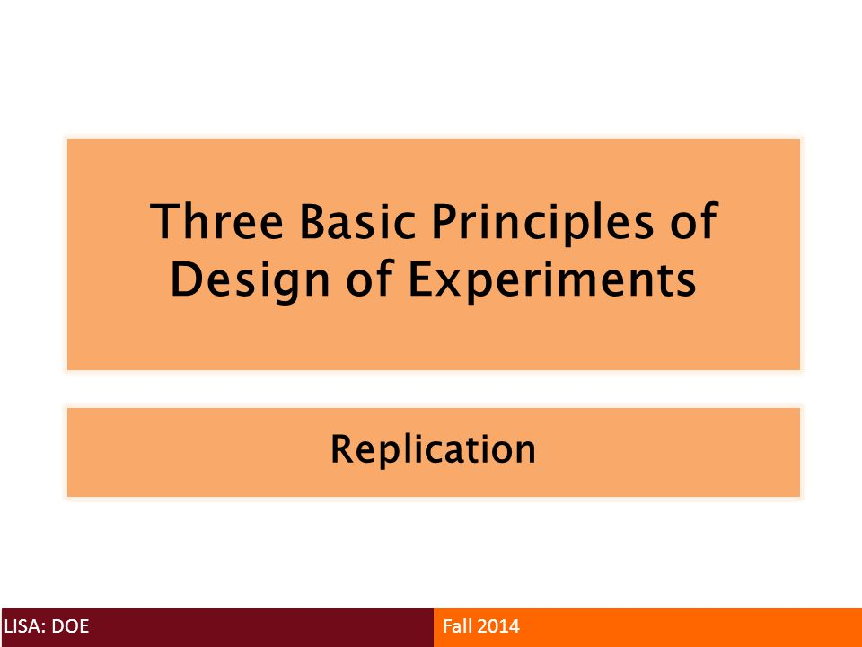 Three Basic Principles of Design of Experiments