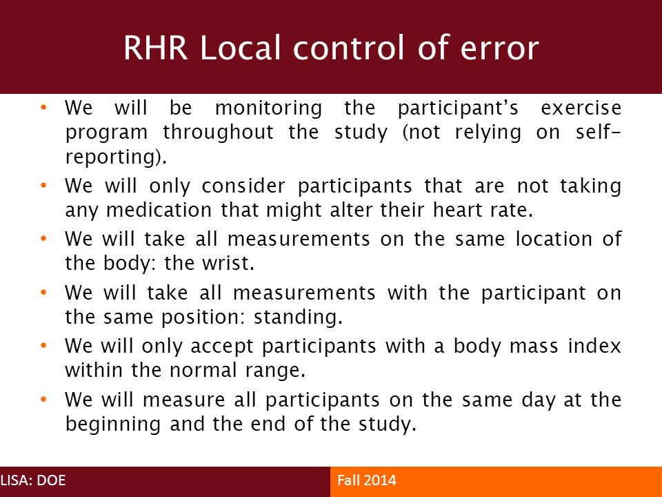 RHR Local control of error
