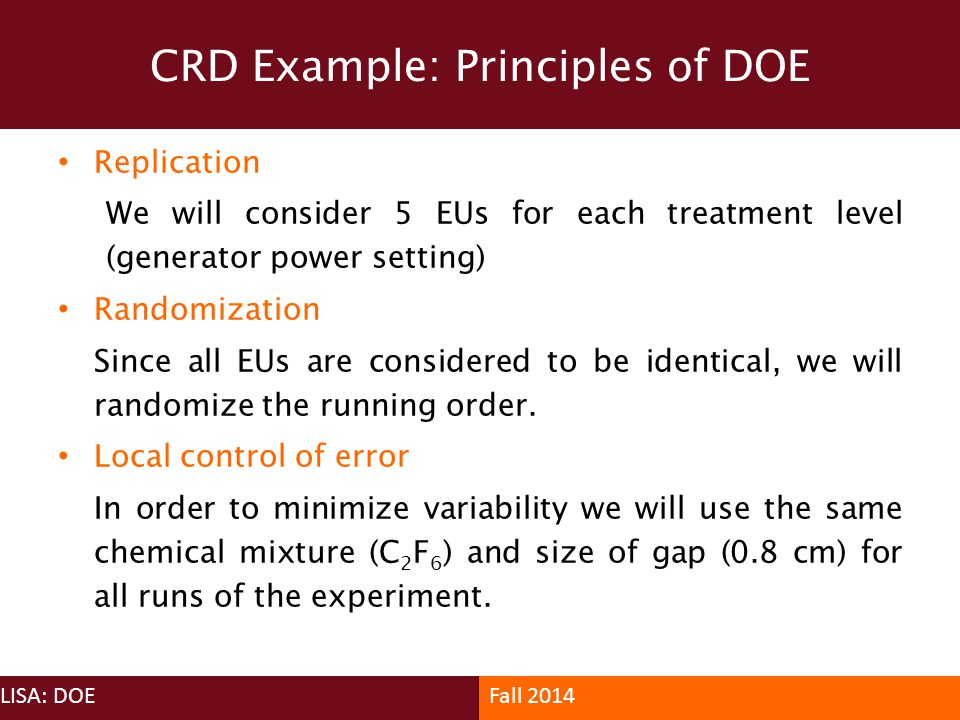 CRD Example: Principles of DOE