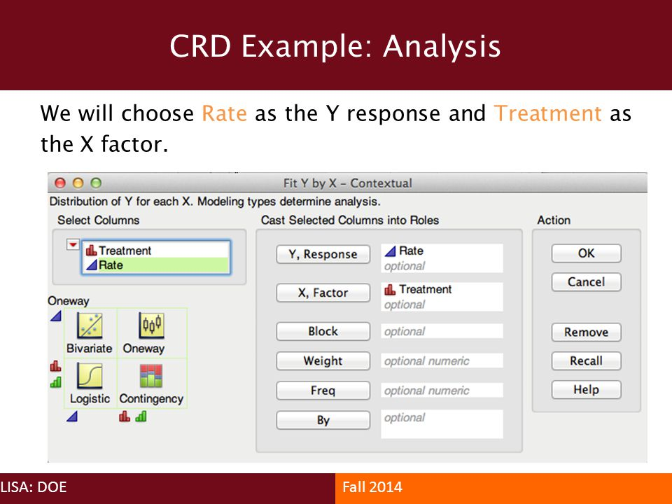 CRD Example: Analysis We will choose Rate as the Y response and Treatment as the X factor. LISA: DOE.