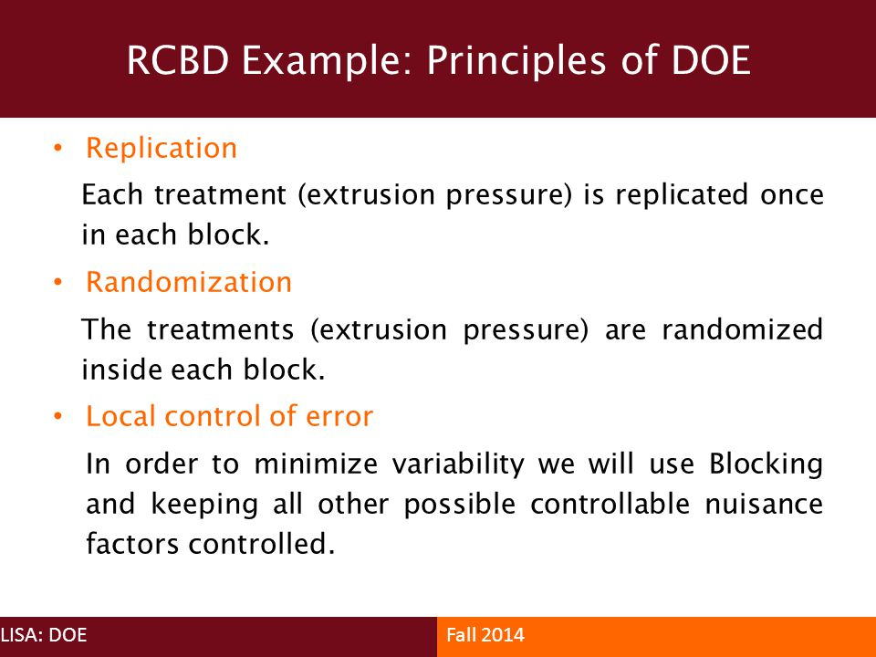RCBD Example: Principles of DOE