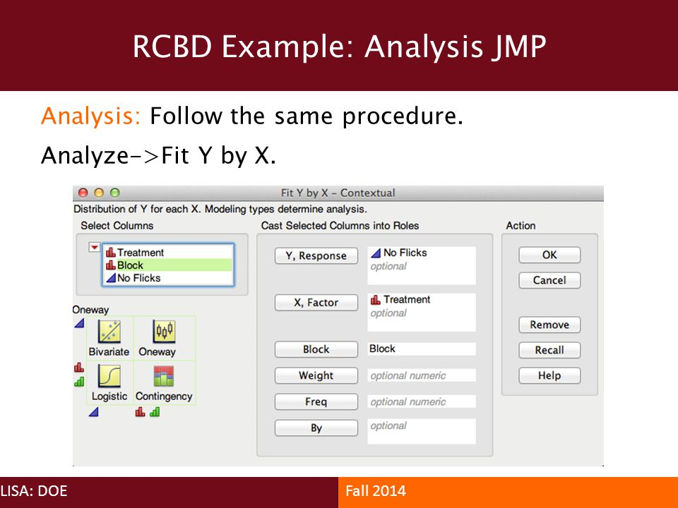 RCBD Example: Analysis JMP
