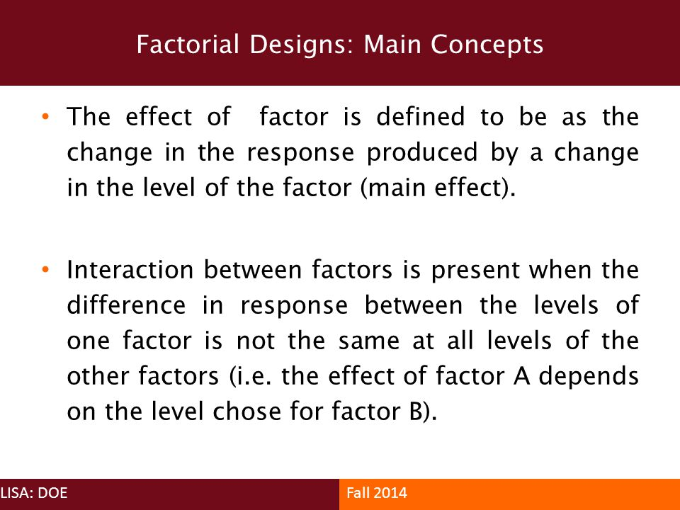 Factorial Designs: Main Concepts