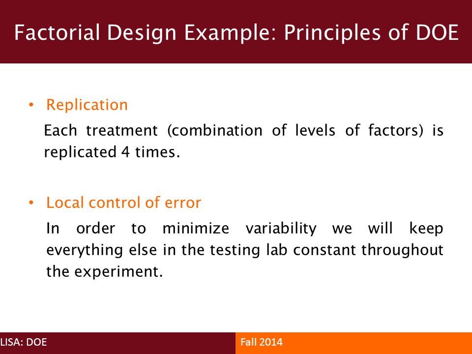 Factorial Design Example: Principles of DOE