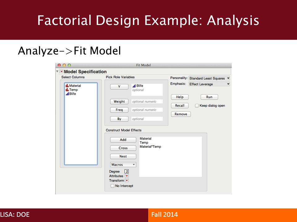 Factorial Design Example: Analysis