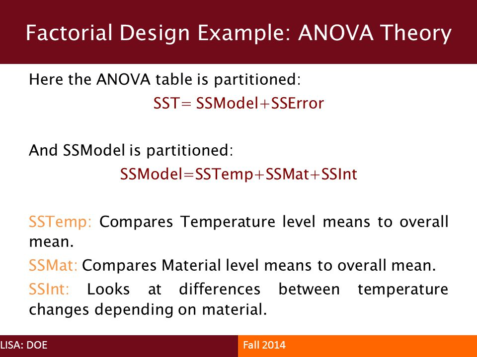 Factorial Design Example: ANOVA Theory