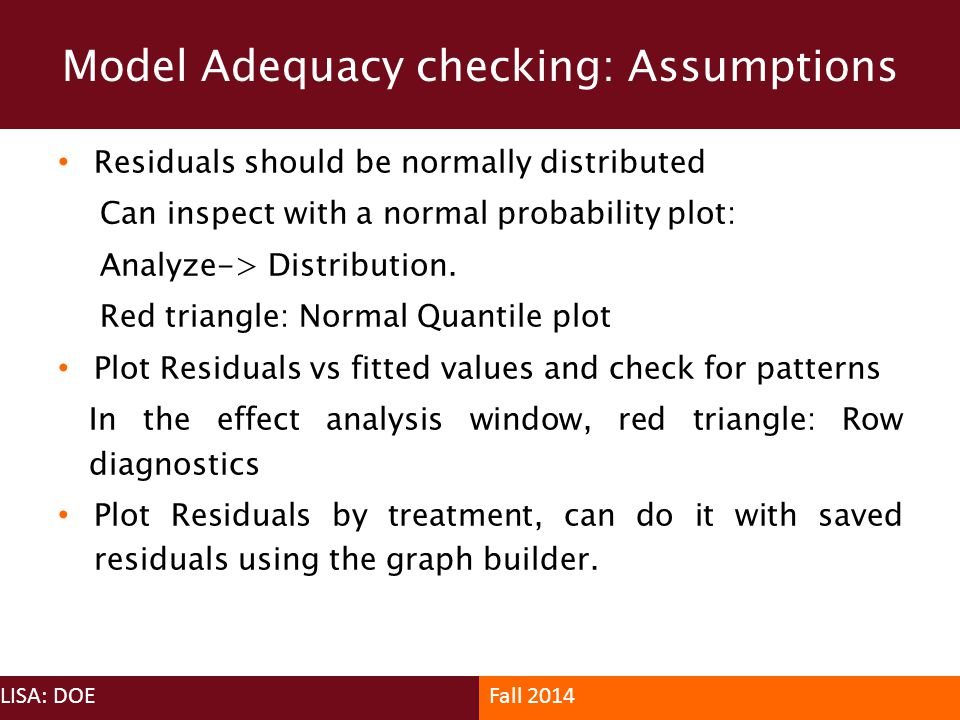 Model Adequacy checking: Assumptions