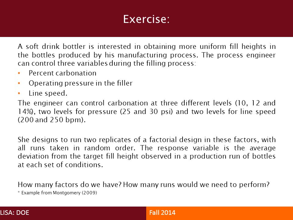 Exercise: LISA: DOE Fall 2014
