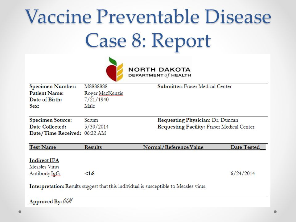 Vaccine Preventable Disease Case 8: Report
