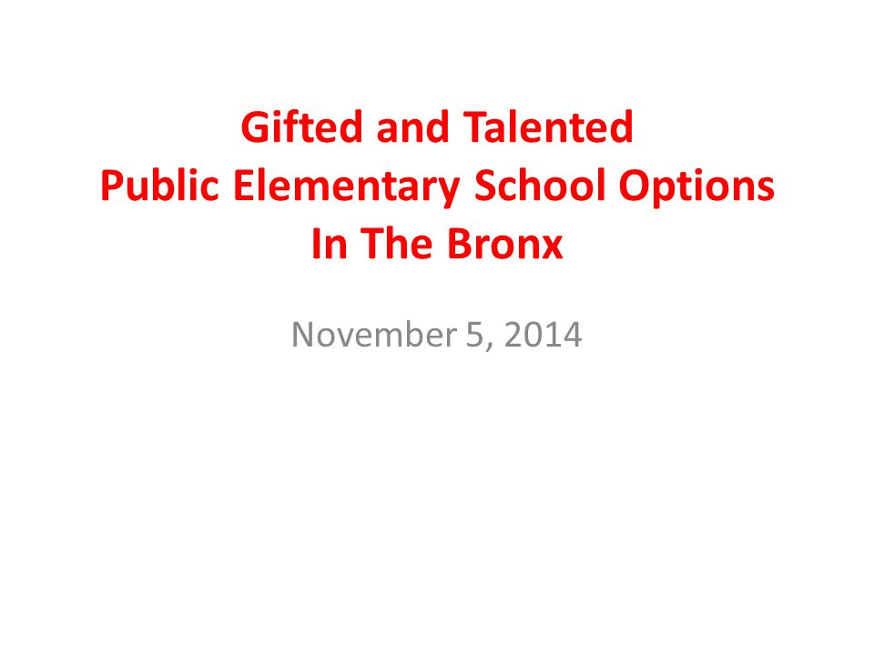 Gifted and Talented Public Elementary School Options In The Bronx