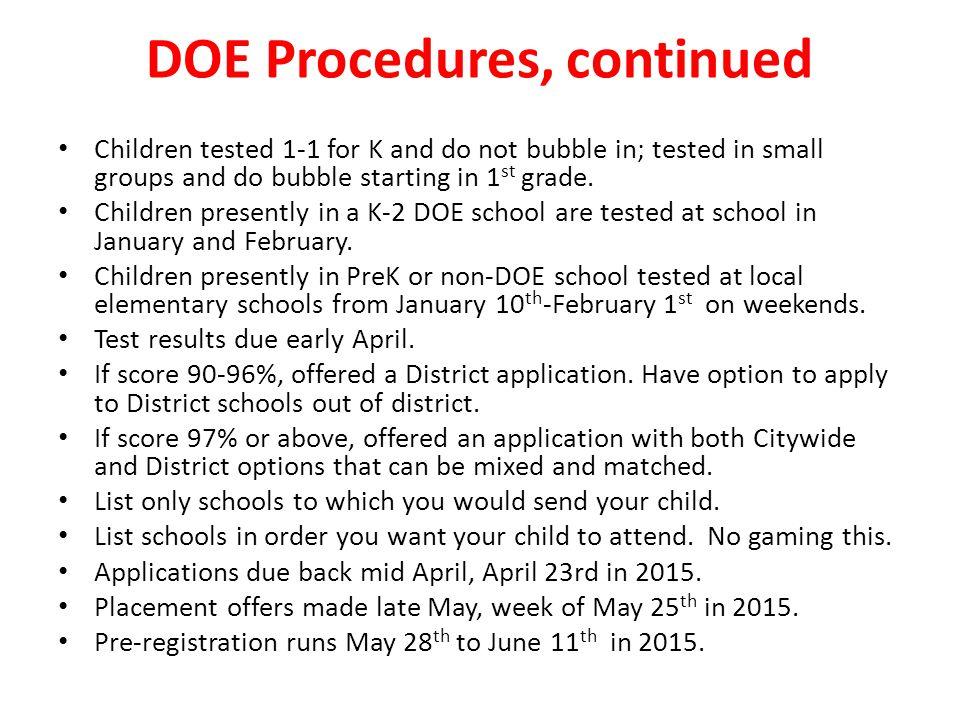 DOE Procedures, continued