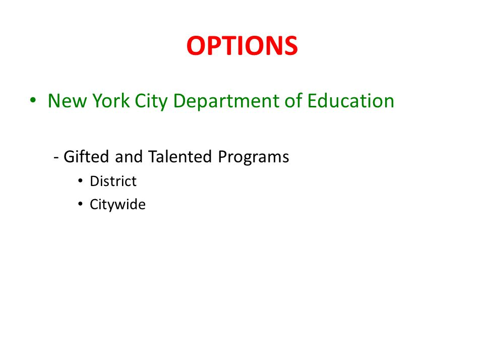 OPTIONS New York City Department of Education