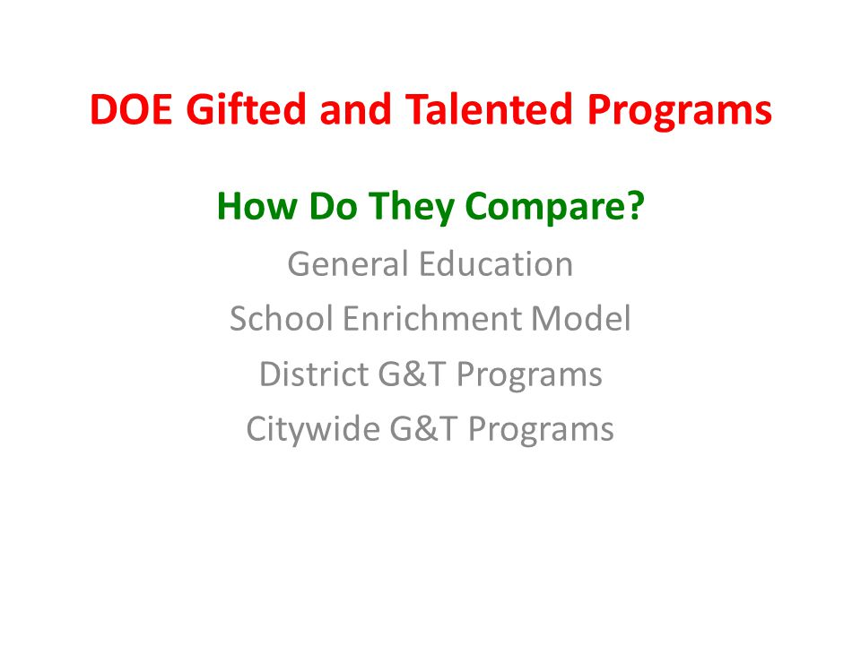 DOE Gifted and Talented Programs