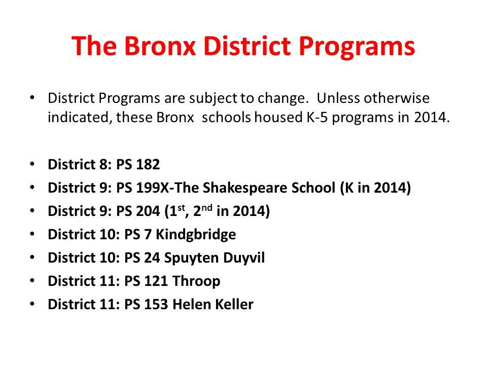 The Bronx District Programs