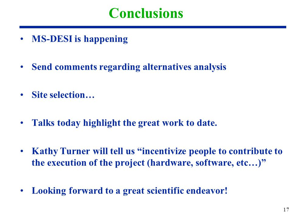 Conclusions MS-DESI is happening