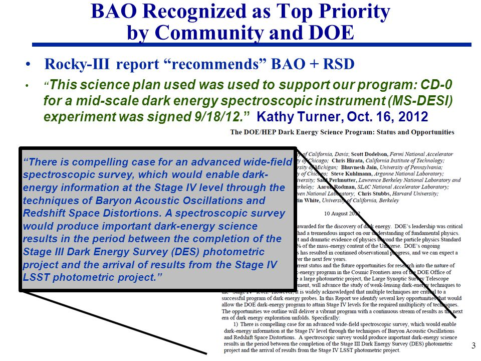 BAO Recognized as Top Priority by Community and DOE