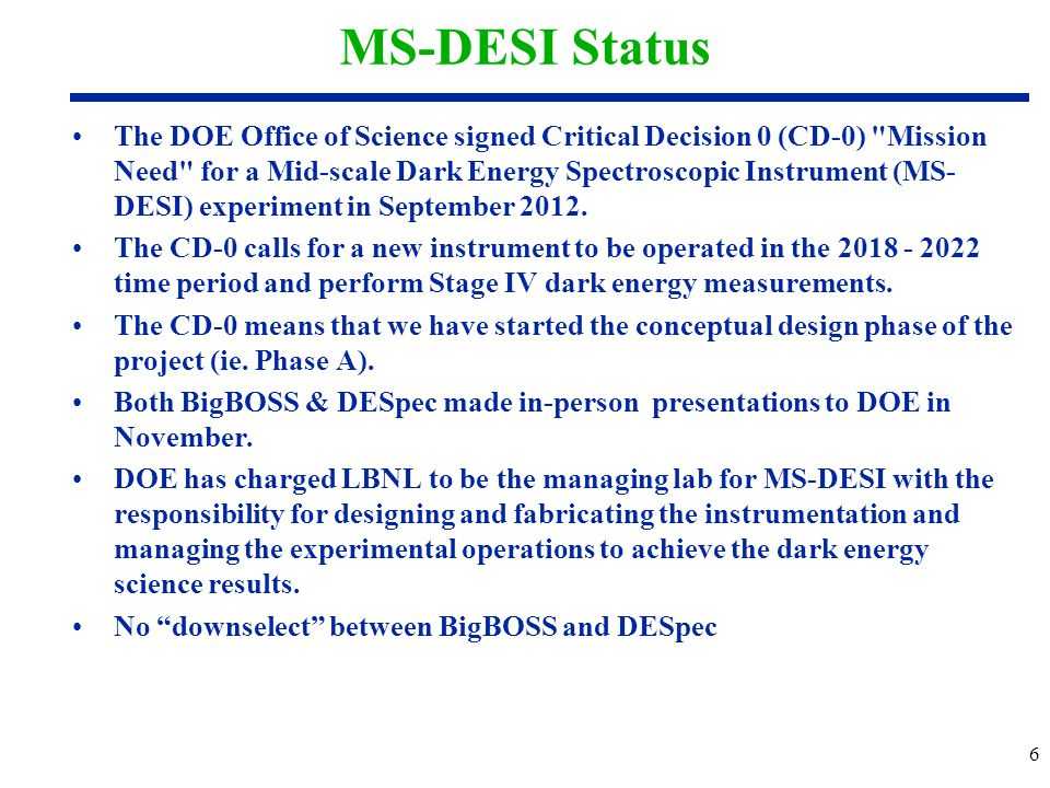 MS-DESI Status