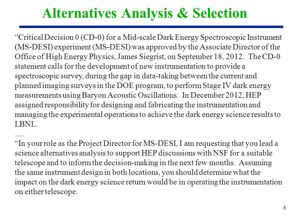 Alternatives Analysis & Selection