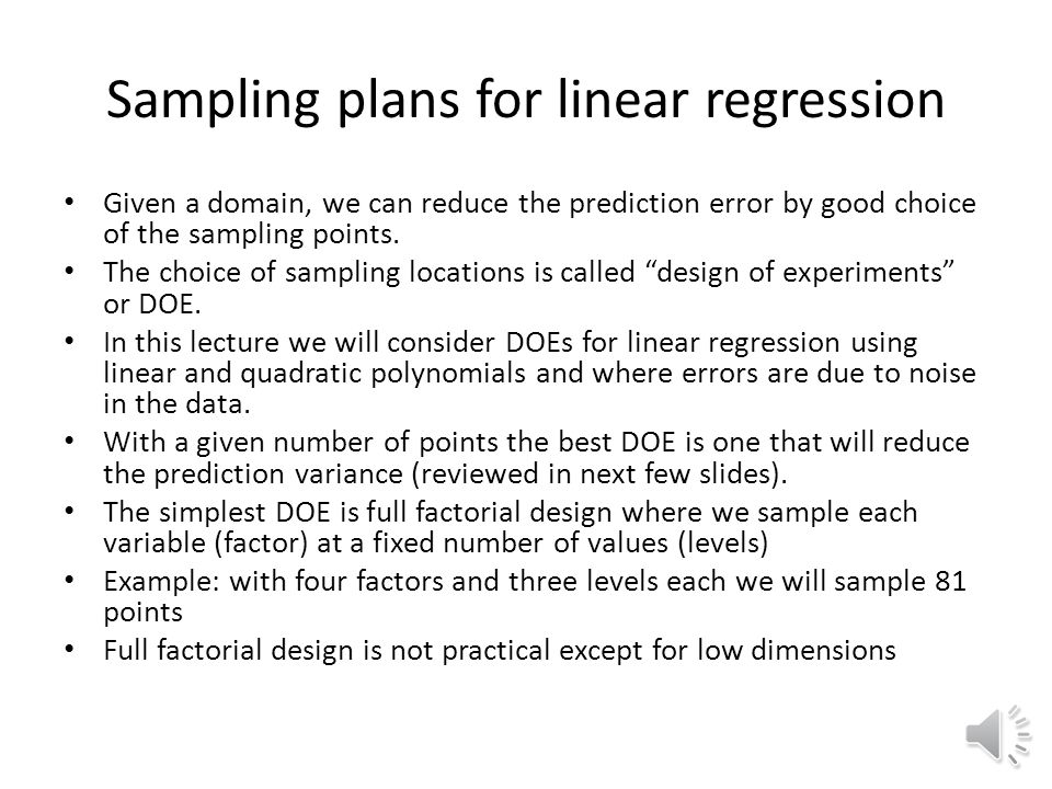Sampling plans for linear regression