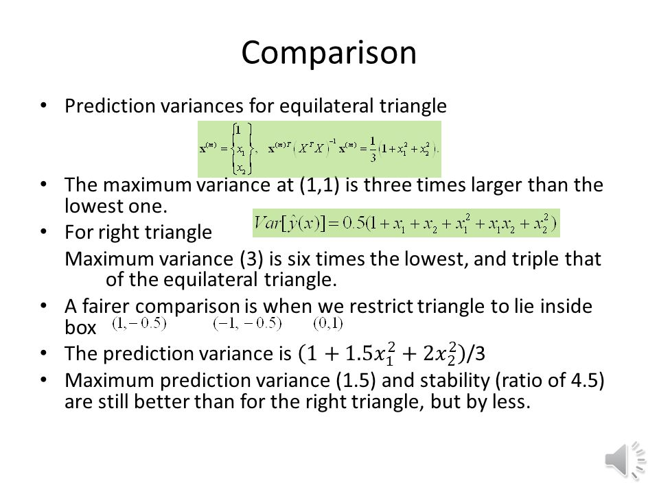 Comparison Prediction variances for equilateral triangle