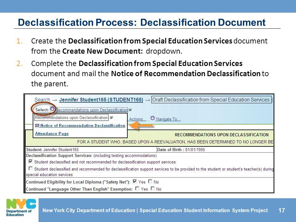 Declassification Process: Declassification Document