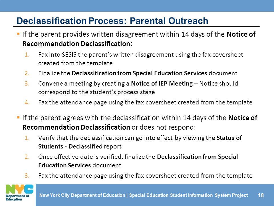Declassification Process: Parental Outreach