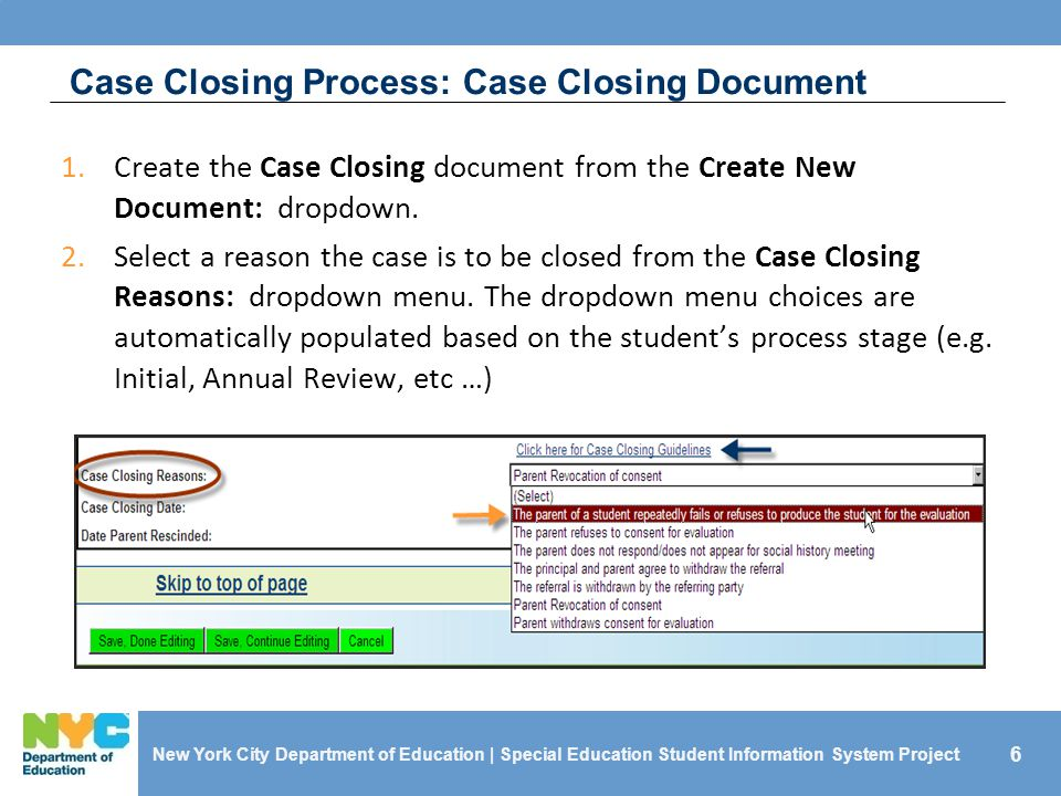 Case Closing Process: Case Closing Document