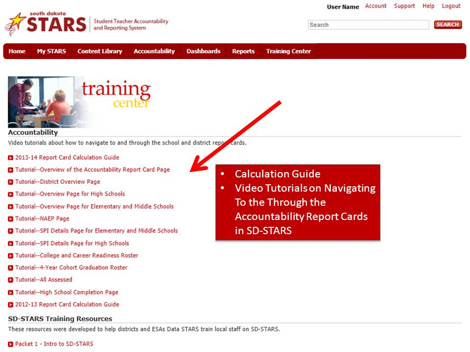 Calculation Guide Video Tutorials on Navigating To the Through the Accountability Report Cards in SD-STARS.