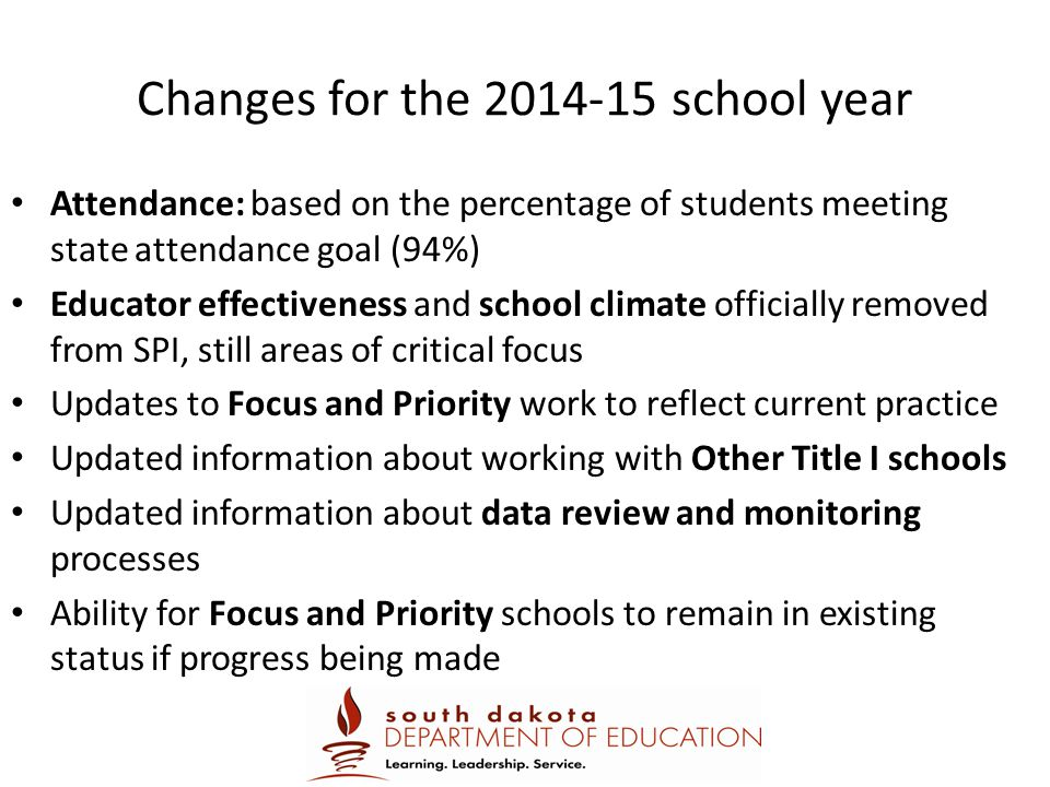 Changes for the 2014-15 school year
