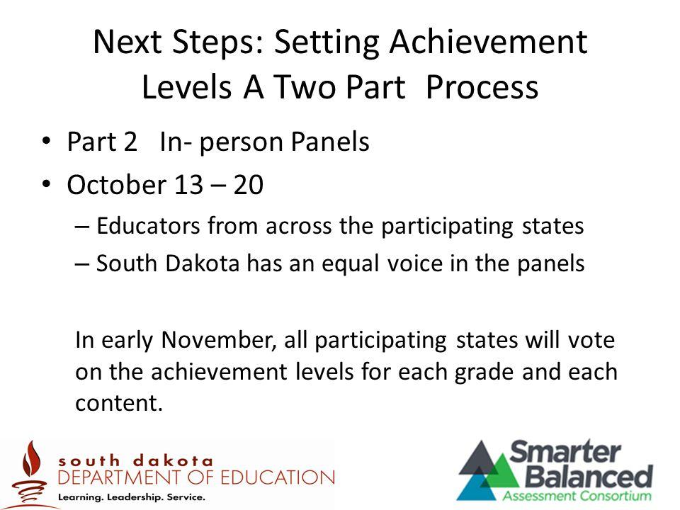 Next Steps: Setting Achievement Levels A Two Part Process