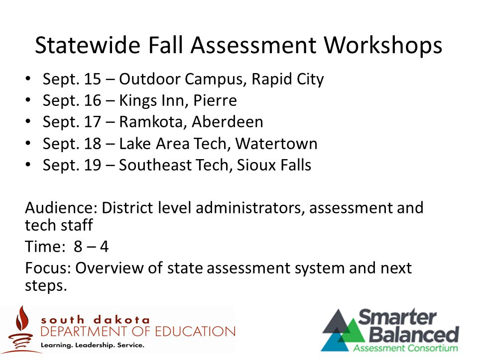 Statewide Fall Assessment Workshops