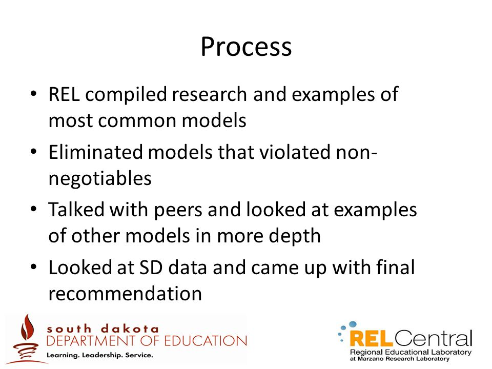 Process REL compiled research and examples of most common models