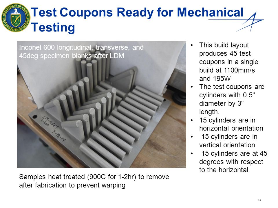 Test Coupons Ready for Mechanical Testing